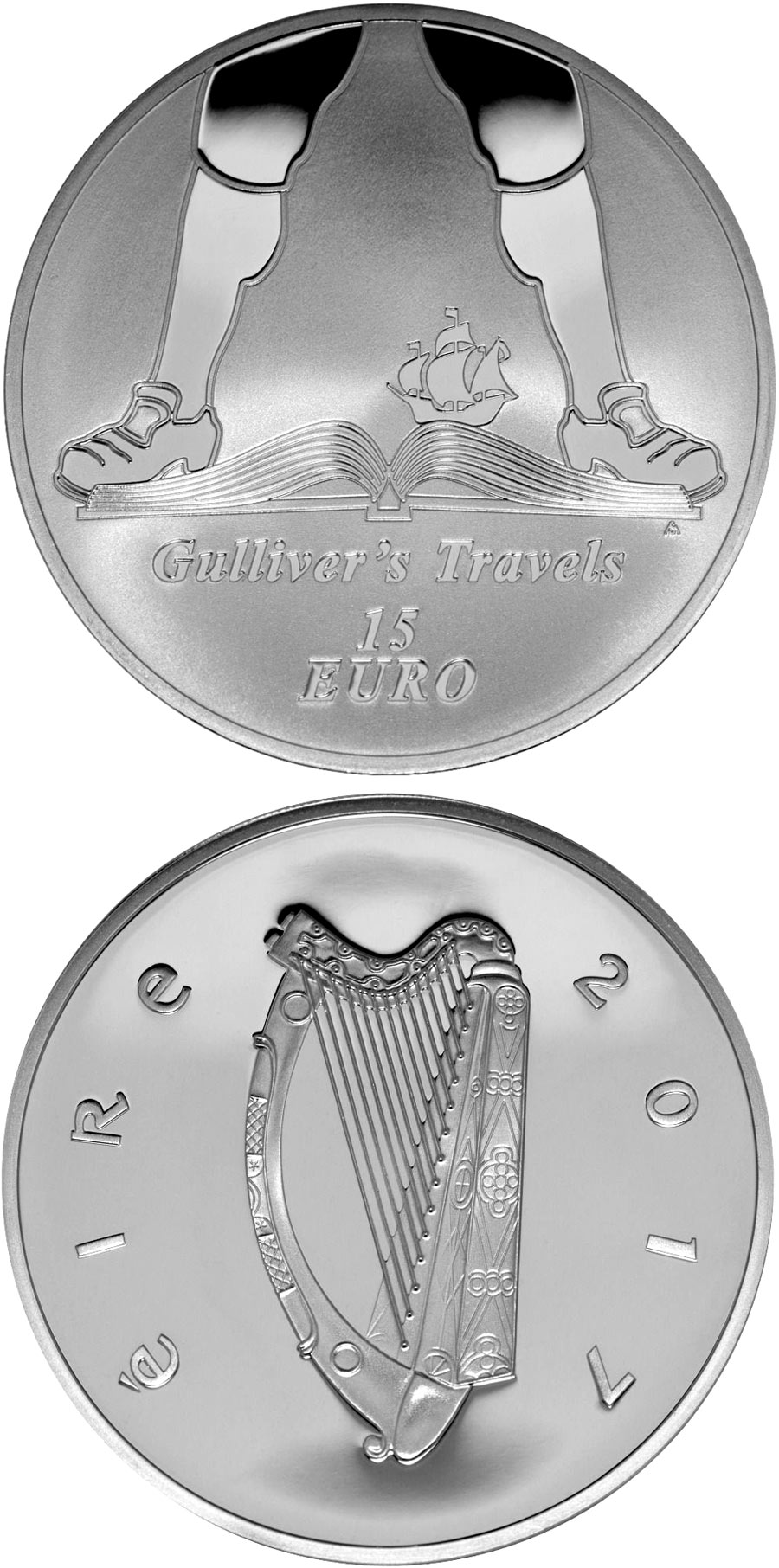 Image of 15 euro coin - Jonathan Swift | Ireland 2017.  The Silver coin is of Proof quality.
