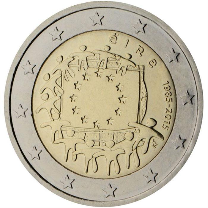 Image of 2 euro coin - The 30th anniversary of the EU flag | Ireland 2015
