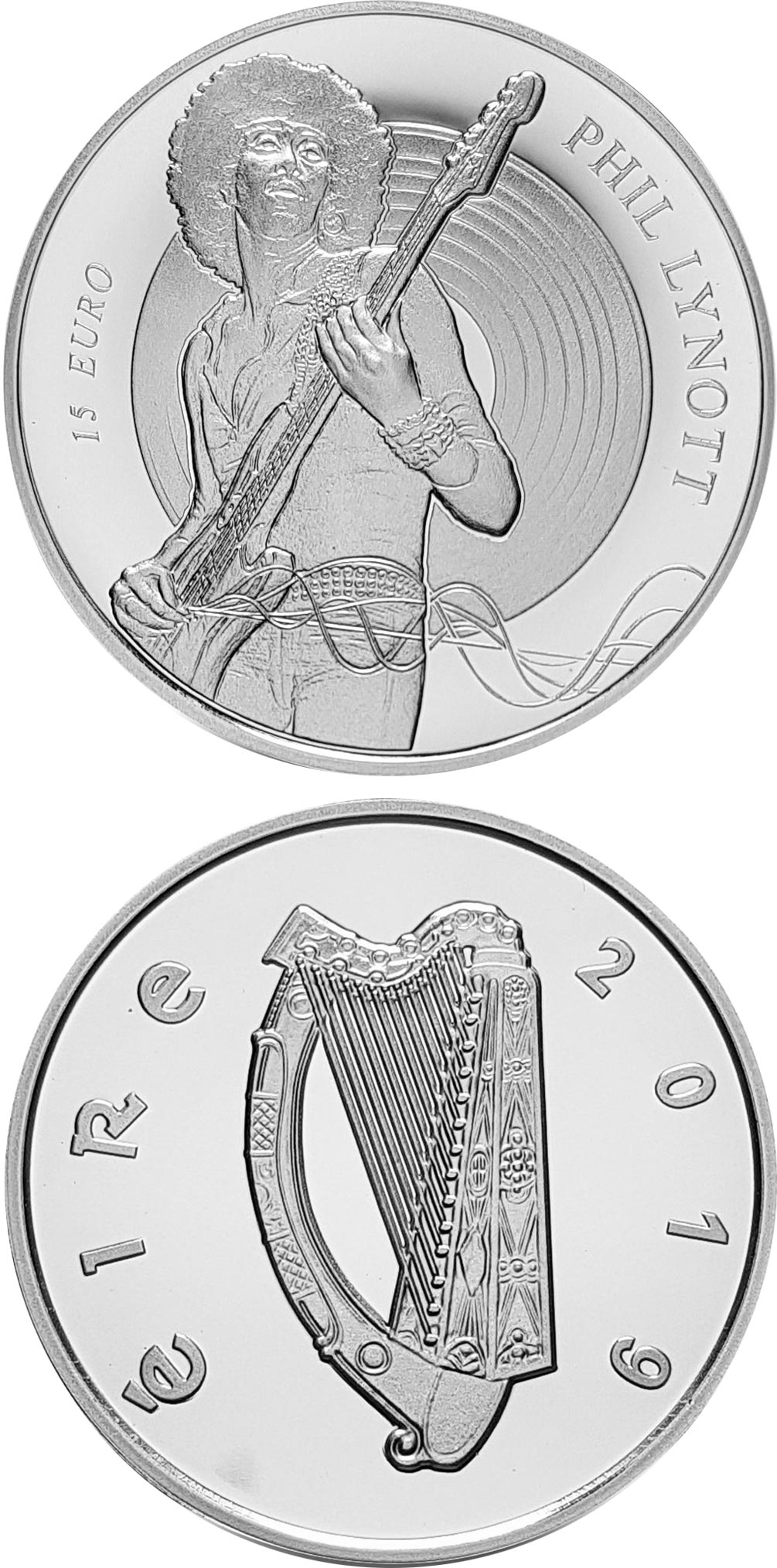 Image of 15 euro coin - Modern Irish Musicians - Phil Lynott | Ireland 2019.  The Silver coin is of Proof quality.