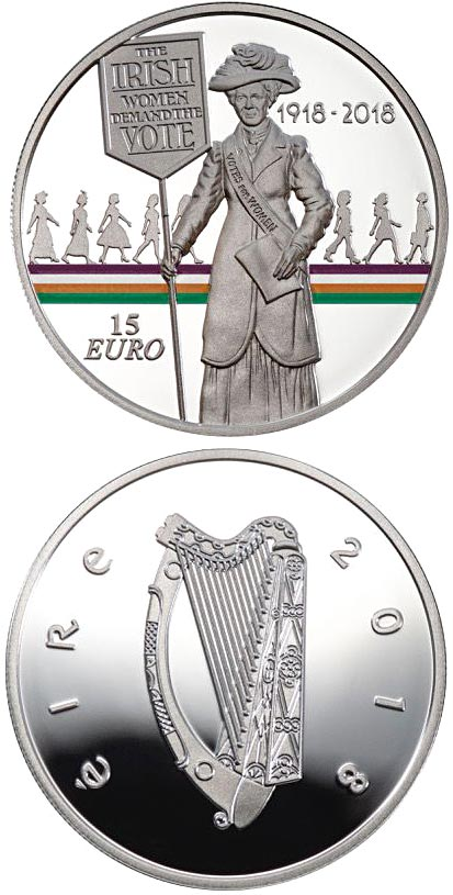 Image of 15 euro coin - 100 Years Since Women Won the Right to Vote | Ireland 2018.  The Silver coin is of Proof quality.
