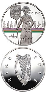 15 euro coin 100 Years Since Women Won the Right to Vote | Ireland 2018