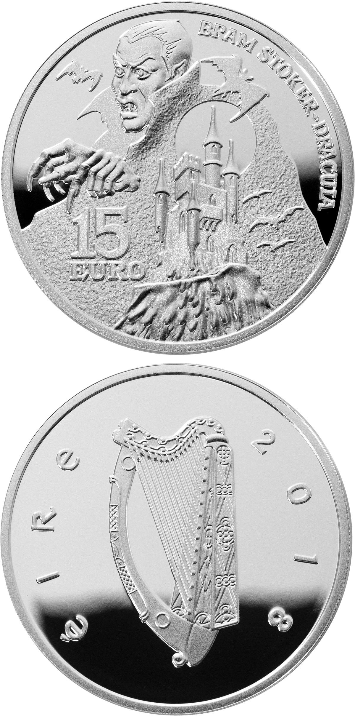 Image of 15 euro coin - Abraham Stoker - Dracula | Ireland 2018.  The Silver coin is of Proof quality.