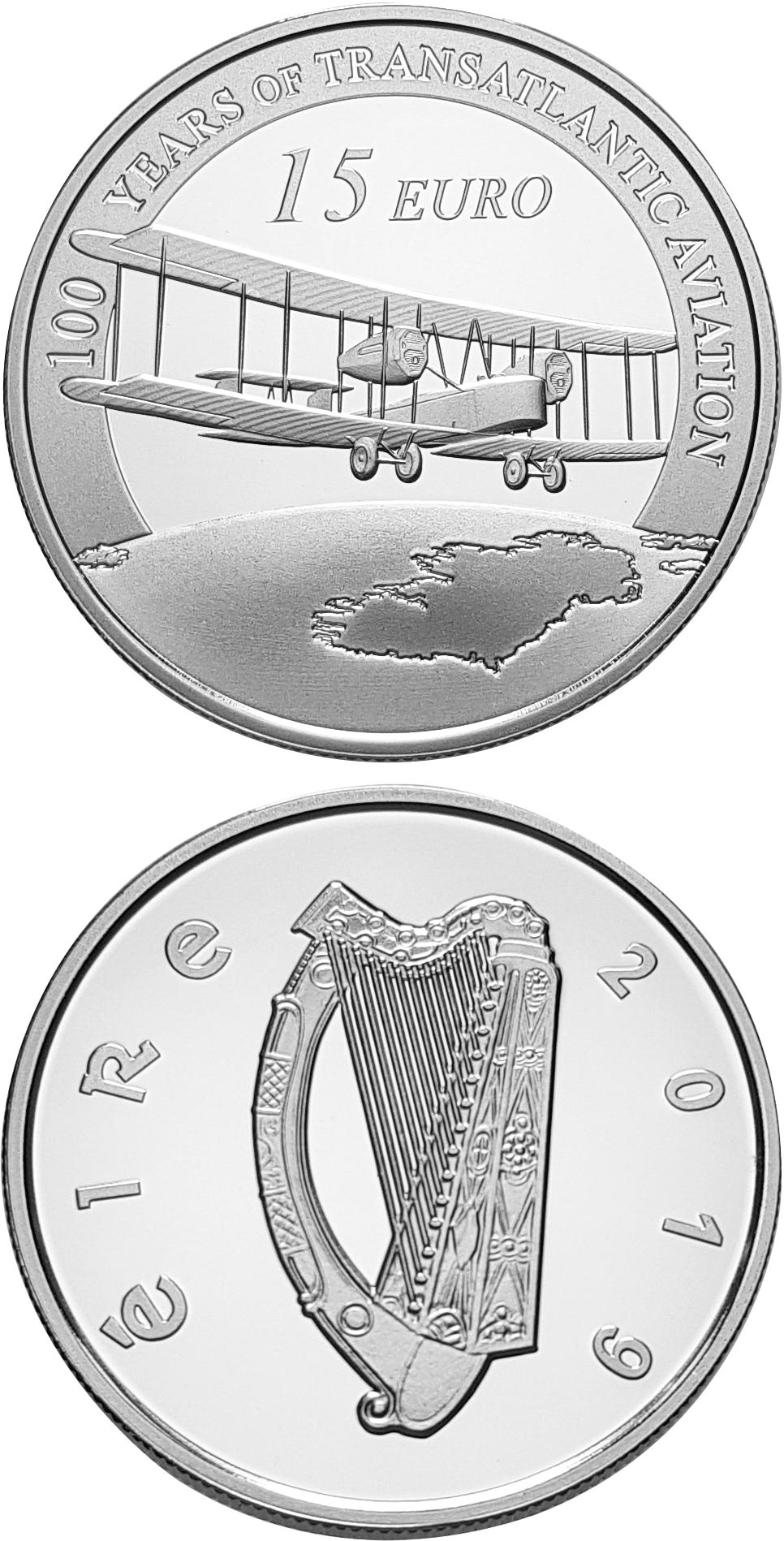Image of 15 euro coin - 100 Years since the First Trans-Atlantic Flight | Ireland 2019.  The Silver coin is of Proof quality.