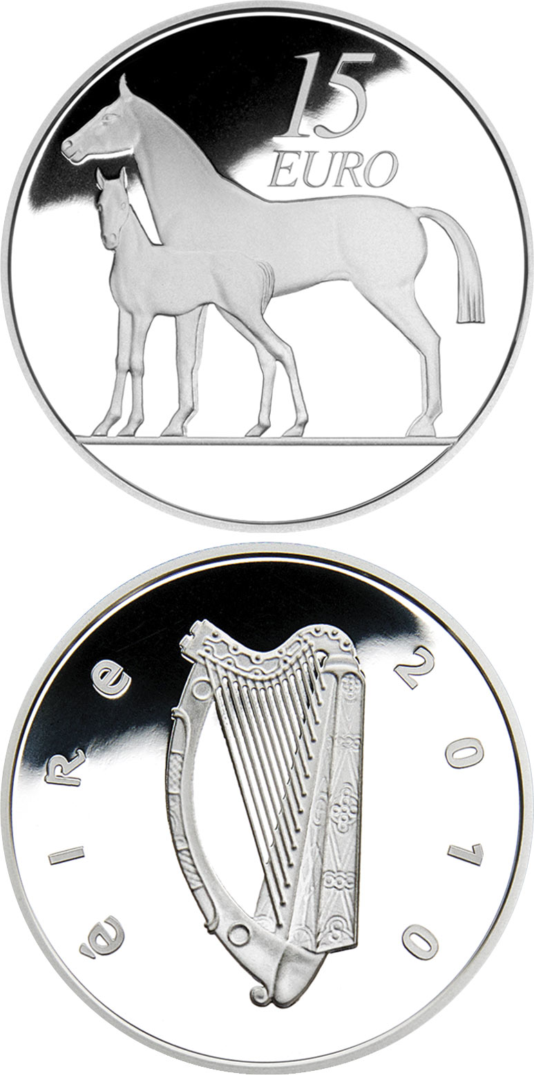 Image of 15 euro coin – The Horse | Ireland 2010.  The Silver coin is of Proof quality.