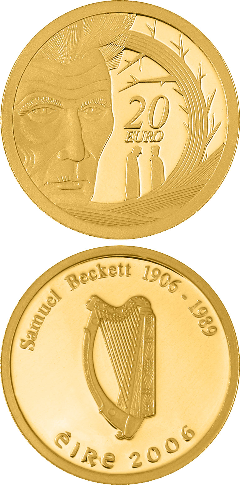 Image of Samuel Beckett Birth 100th Anniversary – 20 euro coin Ireland 2006.  The Gold coin is of Proof quality.