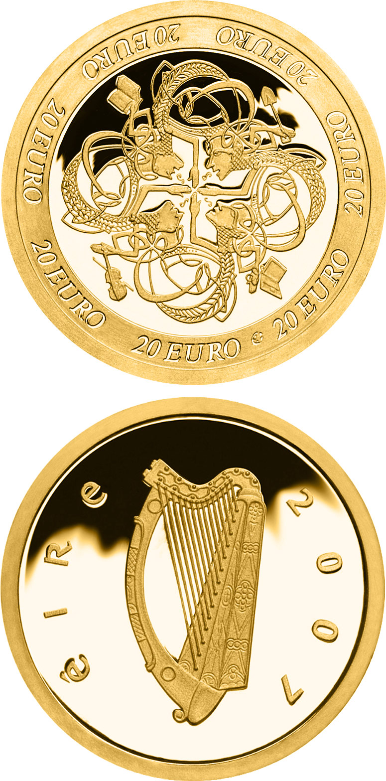 Image of Ireland's Influence on European Celtic culture – 20 euro coin Ireland 2007.  The Gold coin is of Proof quality.