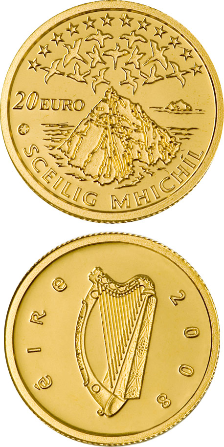 Image of 20 euro coin – UNESCO Heritage Site of Skellig Michael | Ireland 2008.  The Gold coin is of Proof quality.