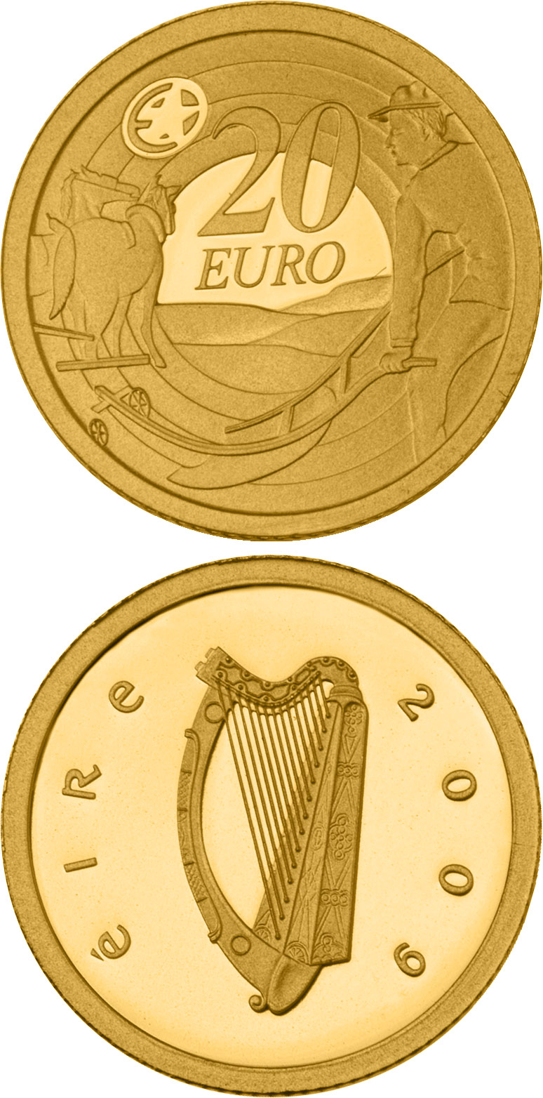Image of 20 euro coin - 80th Anniversary of Ploughman´s Banknotes Launch | Ireland 2009.  The Gold coin is of Proof quality.