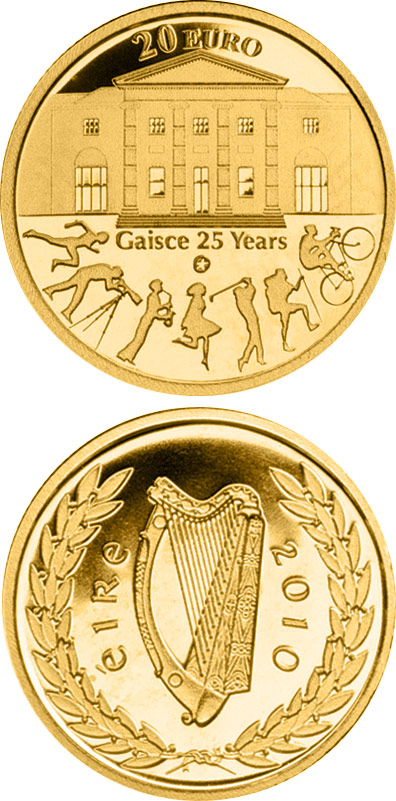 Image of 20 euro coin - 25th anniversary of Gaisce/The President's Award | Ireland 2010.  The Gold coin is of Proof quality.