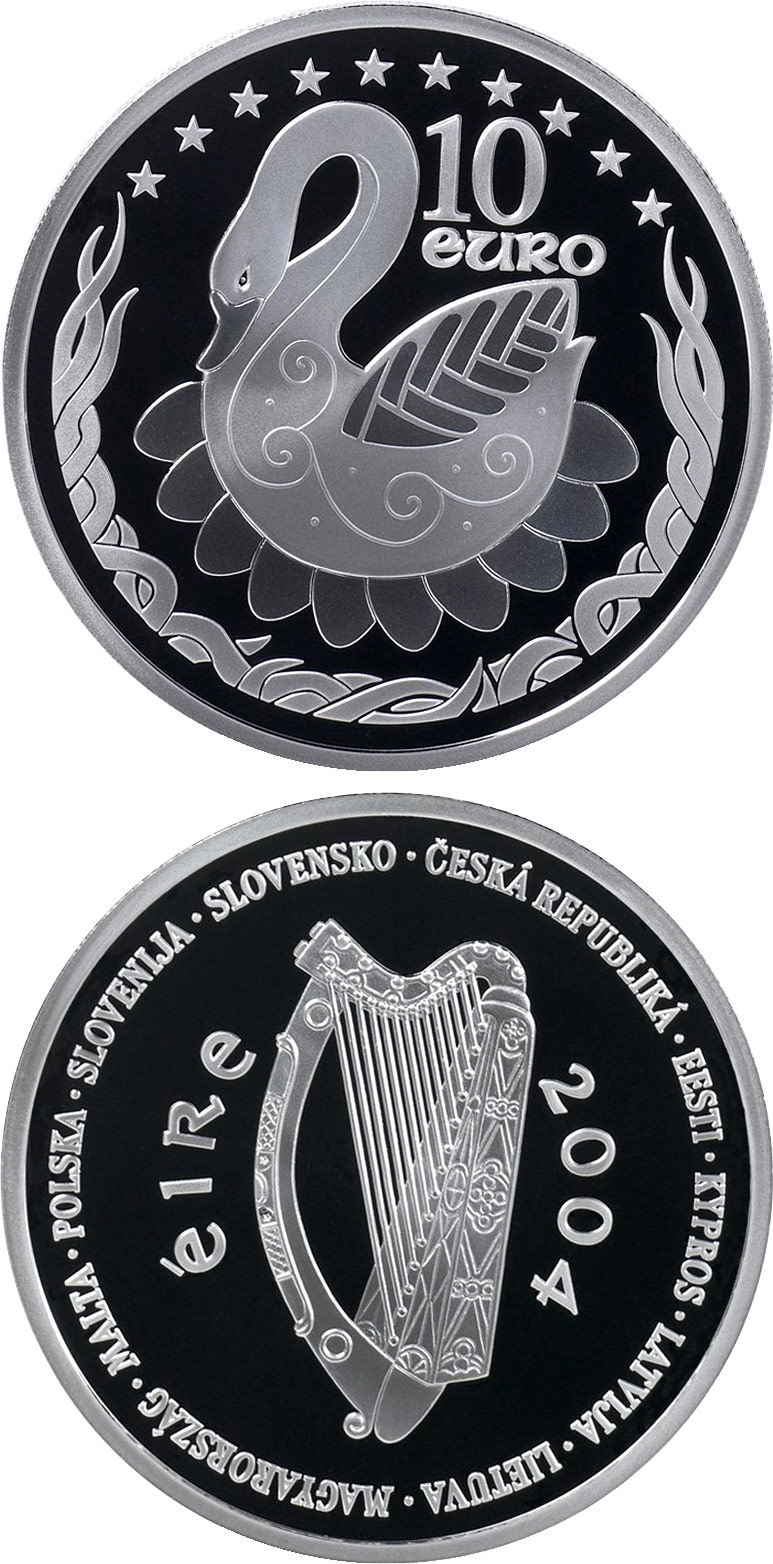 Image of 10 euro coin – European Union Accession | Ireland 2004.  The Silver coin is of Proof quality.