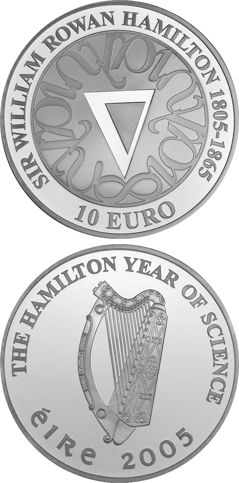 Image of 10 euro coin Sir William Rowan Hamilton Birth 200th Anniversary | Ireland 2005.  The Silver coin is of Proof quality.