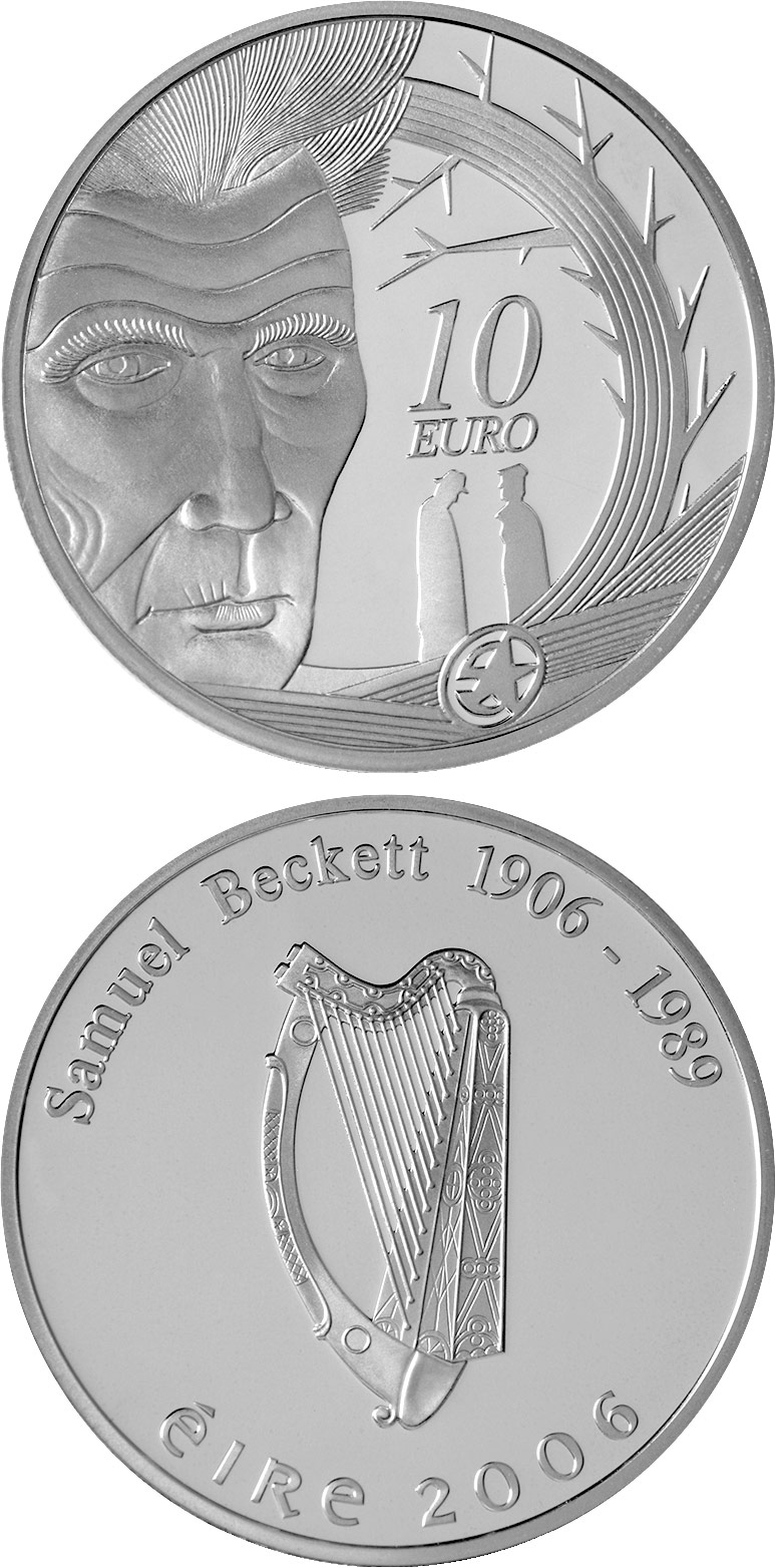 Image of 10 euro coin - Samuel Beckett Birth 100th Anniversary | Ireland 2006.  The Silver coin is of Proof quality.