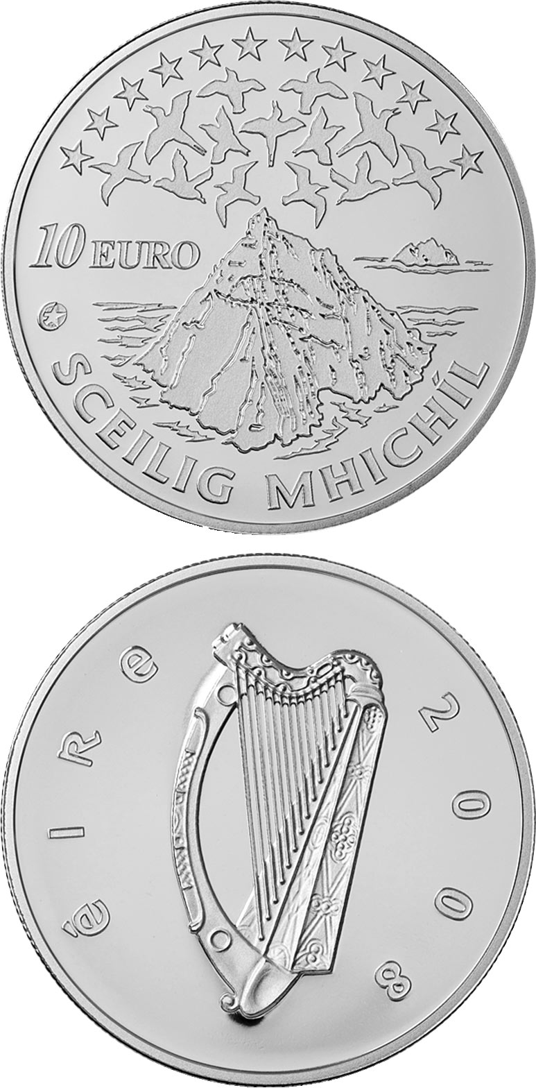 Image of 10 euro coin – UNESCO Heritage Site of Skellig Michael | Ireland 2008.  The Silver coin is of Proof quality.