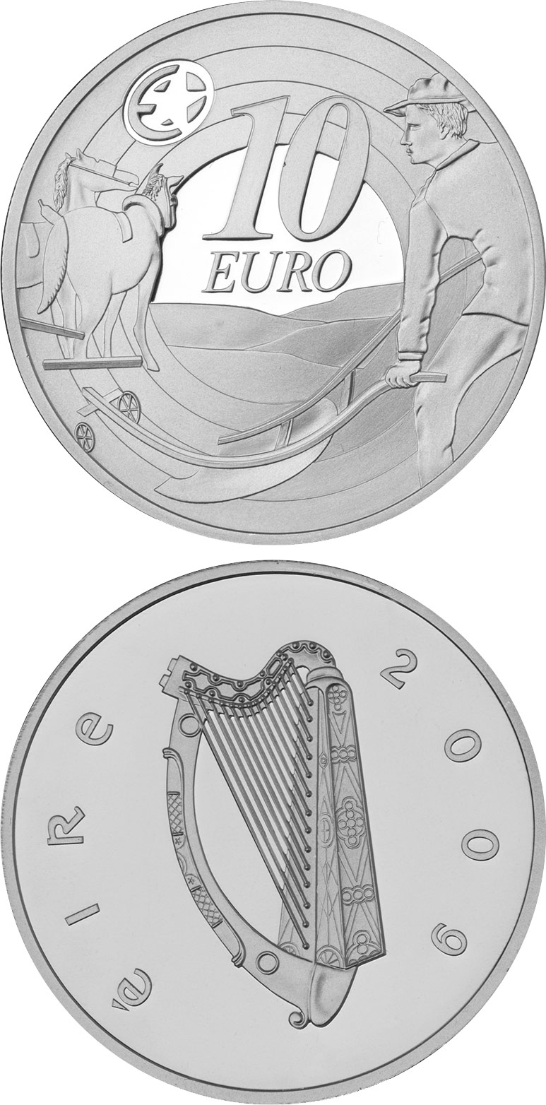 Image of 10 euro coin - 80th Anniversary of Ploughman´s Banknotes Launch | Ireland 2009.  The Silver coin is of Proof quality.