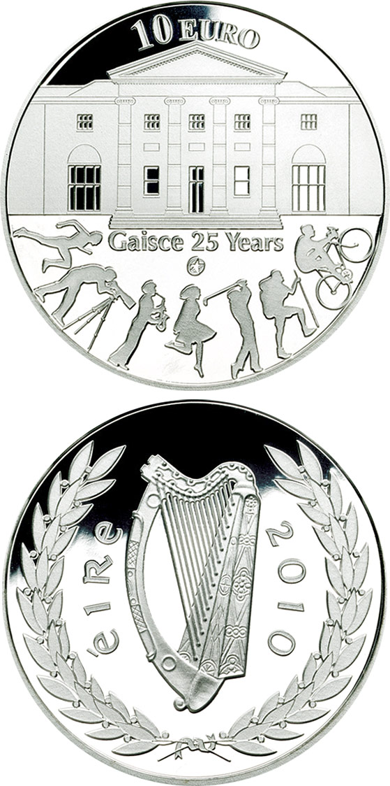Image of a coin 10 euro | Ireland | 25th anniversary of Gaisce/The President's Award | 2010