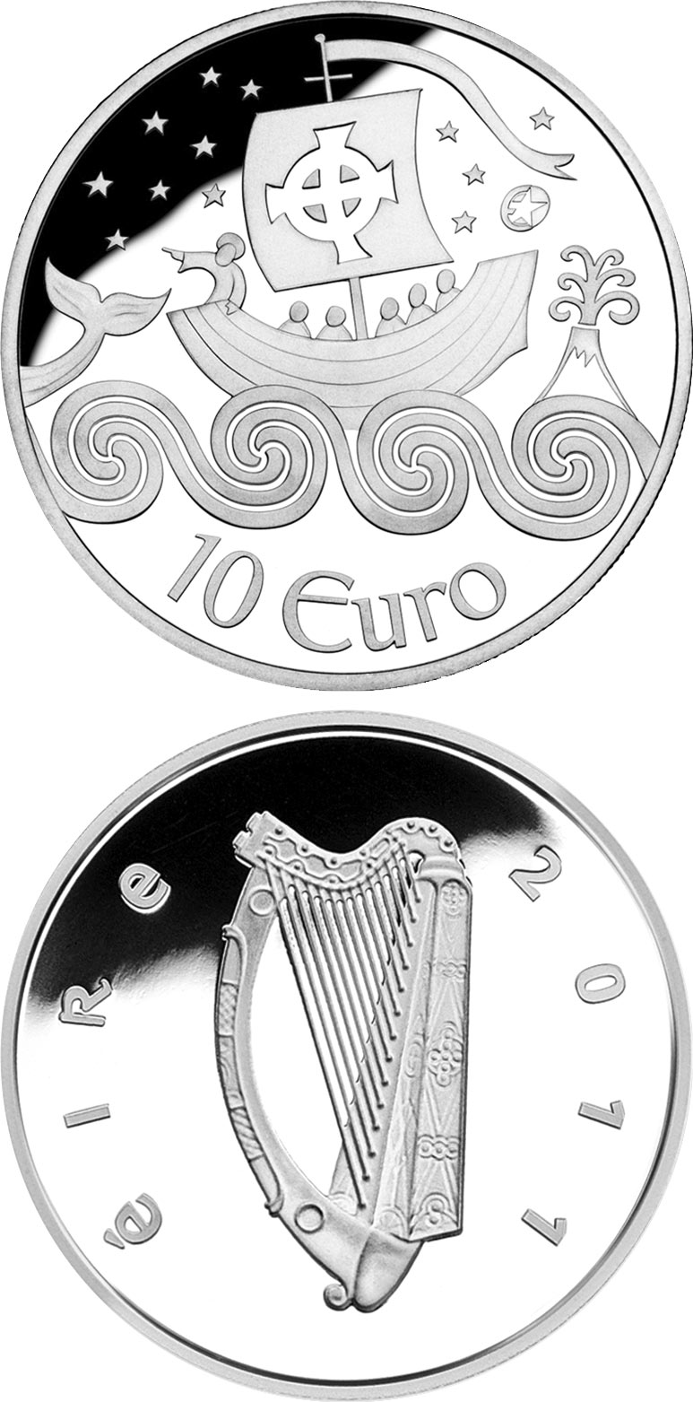 Image of 10 euro coin - St. Brendan The Navigator | Ireland 2011.  The Silver coin is of Proof quality.