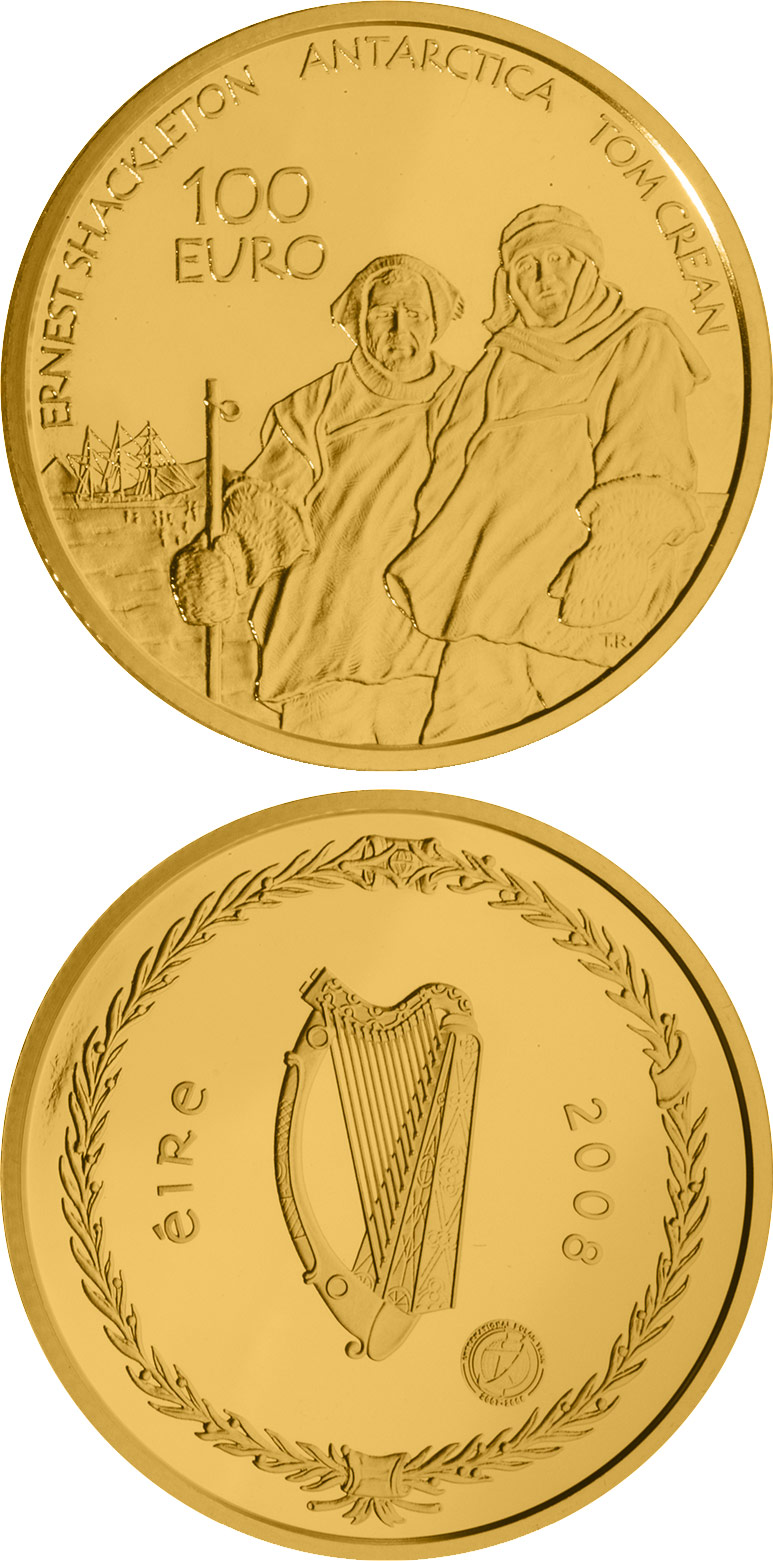 Image of Polar Year – 100 euro coin Ireland 2008.  The Gold coin is of Proof quality.
