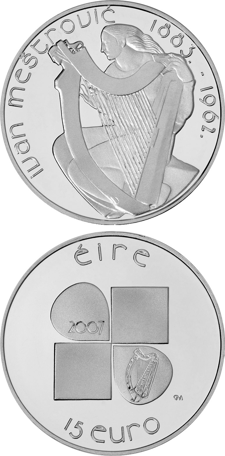 Image of 15 euro coin – Ivan Meštrović's design | Ireland 2007.  The Silver coin is of Proof quality.