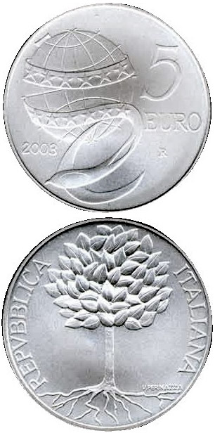 Image of 5 euro coin - Europe of the people | Italy 2003.  The Silver coin is of Proof, BU quality.
