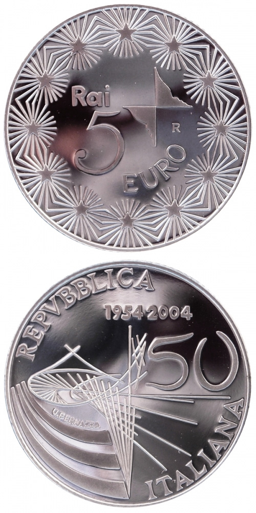 Image of 5 euro coin – 50 years Television in Italy | Italy 2004.  The Silver coin is of Proof, BU quality.
