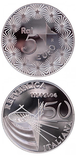 5 euro 50 years Television in Italy - 2004 - Series: Silver 5 euro coins - Italy