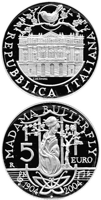 Image of 5 euro coin - 80. anniversary of the death of Giacomo Puccini - Madame Butterfly | Italy 2004.  The Silver coin is of Proof, BU quality.
