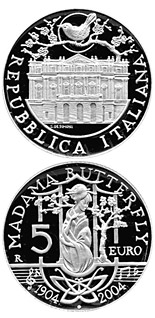 5 euro coin 80. anniversary of the death of Giacomo Puccini - Madame Butterfly | Italy 2004