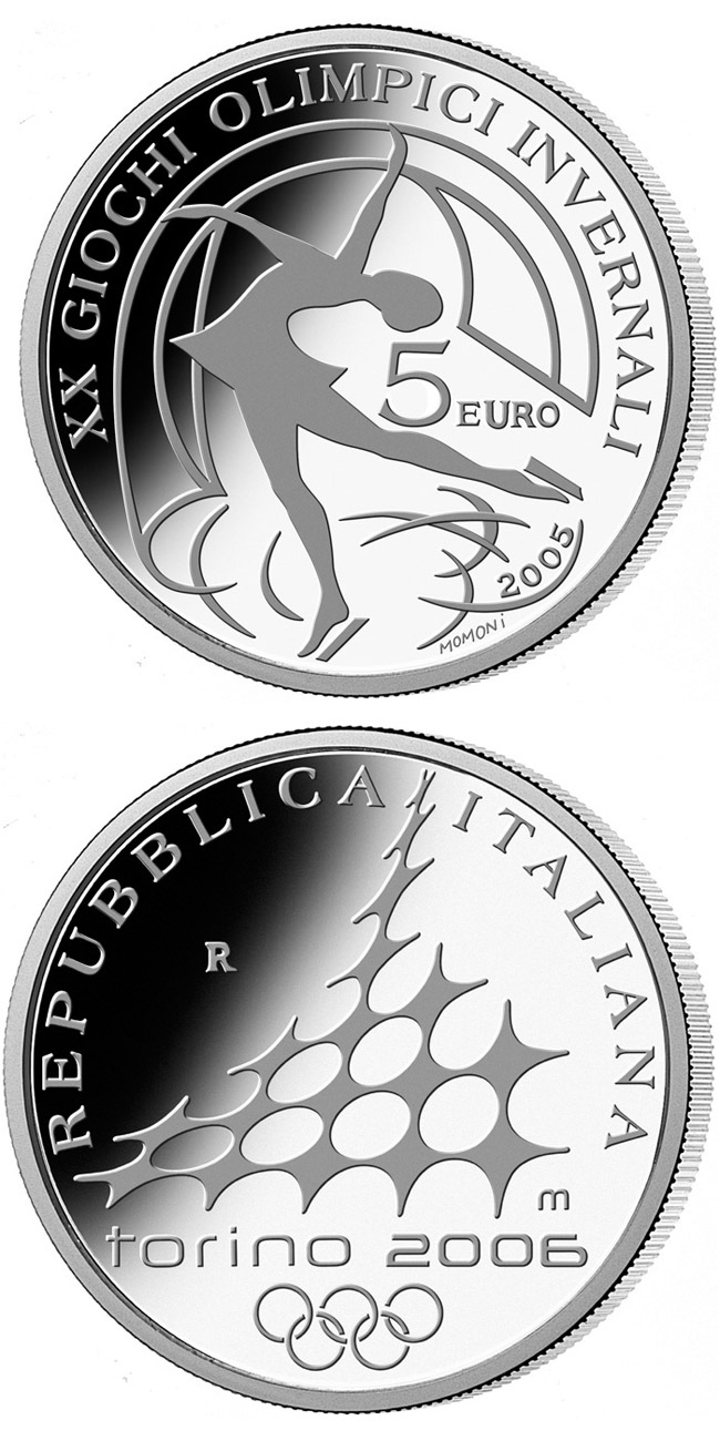 Image of 5 euro coin XX. Olympic Winter Games 2006 in Turin - Figure skating | Italy 2005.  The Silver coin is of Proof quality.