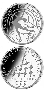 5 euro XX. Olympic Winter Games 2006 in Turin - Figure skating - 2005 - Series: Silver 5 euro coins - Italy