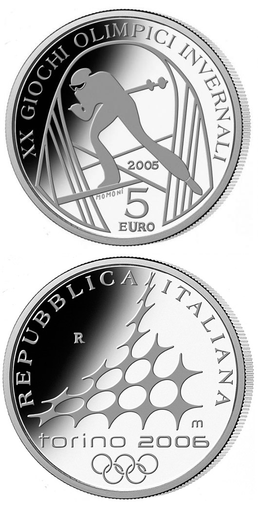 Image of 5 euro coin – XX. Olympic Winter Games 2006 in Turin - Cross-Country Skiing | Italy 2005.  The Silver coin is of Proof quality.