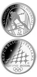 5 euro XX. Olympic Winter Games 2006 in Turin - Cross-Country Skiing - 2005 - Series: Silver 5 euro coins - Italy