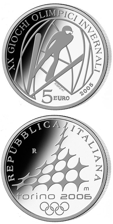 Image of XX. Olympic Winter Games 2006 in Turin - Ski Jumping – 5 euro coin Italy 2005.  The Silver coin is of Proof quality.