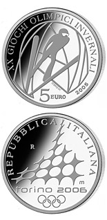 5 euro XX. Olympic Winter Games 2006 in Turin - Ski Jumping - 2005 - Series: Silver 5 euro coins - Italy