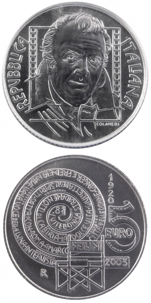 Image of 5 euro coin – 85. birthday of Federico Fellini | Italy 2005.  The Silver coin is of Proof, BU quality.