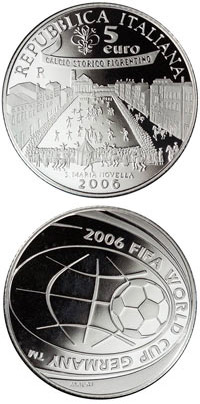 Image of a coin 5 euro | Italy | FIFA Football World Cup 2006 in Germany | 2006