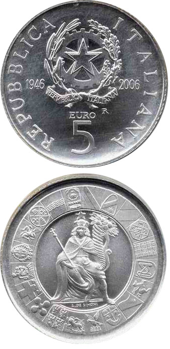 Image of 5 euro coin - 60 years Republic of Italy | Italy 2006.  The Silver coin is of Proof, BU quality.