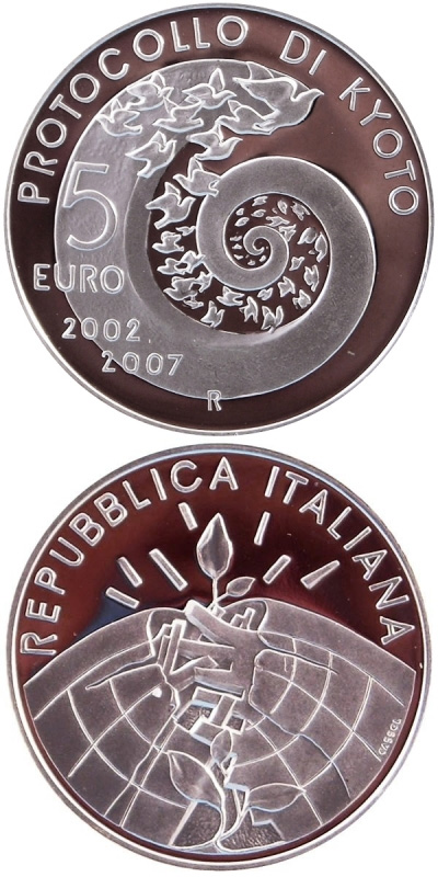 Image of 5 euro coin - 5 years Kyoto Protocol | Italy 2007.  The Silver coin is of Proof, BU quality.
