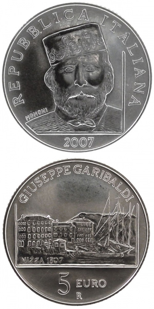 Image of 5 euro coin – 200. birthday of Giuseppe Garibaldi | Italy 2007.  The Silver coin is of BU quality.
