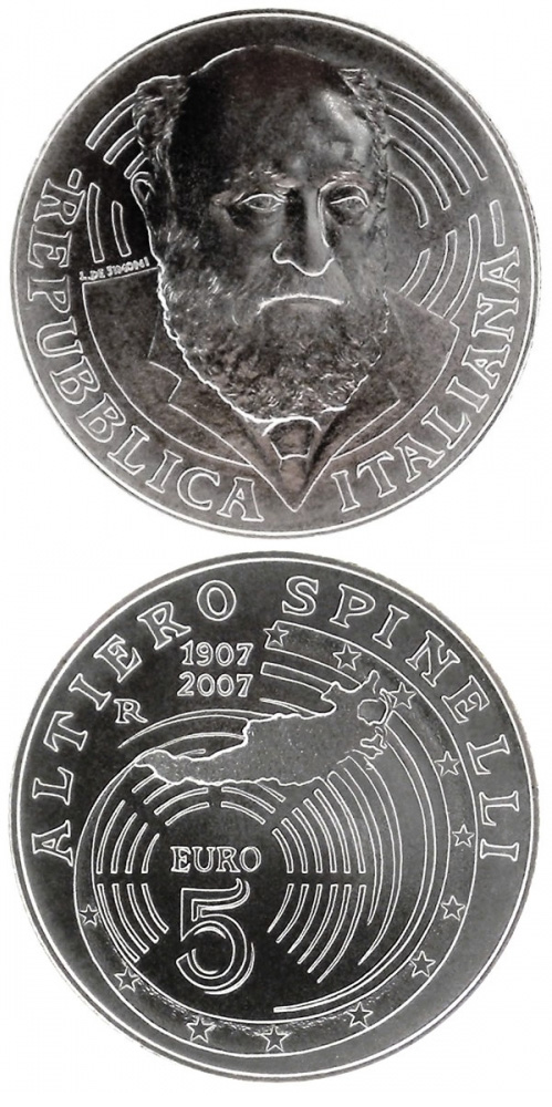 Image of 5 euro coin 100. birthday of Altiero Spinelli | Italy 2007.  The Silver coin is of BU quality.