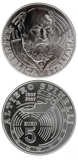 5 euro coin 100. birthday of Altiero Spinelli | Italy 2007