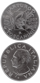 5 euro coin 50th anniversary of the death bon Arturo Toscanini | Italy 2007