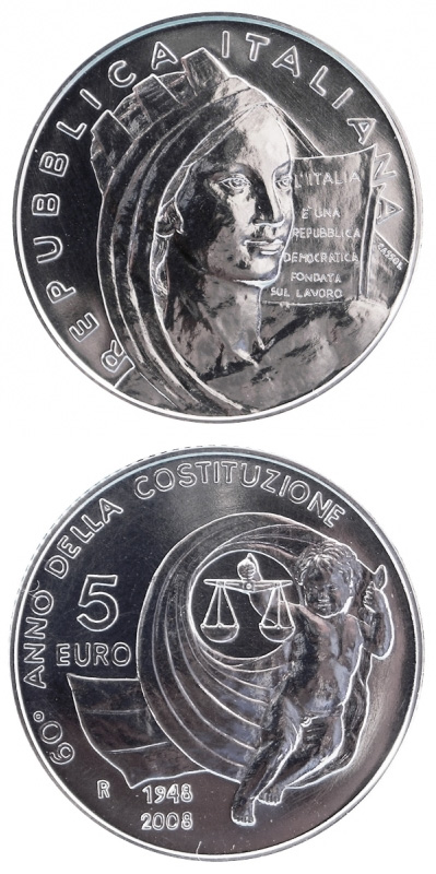 Image of a coin 5 euro | Italy | 60th Anniversary of the Constitution of the Italian Republic  | 2008