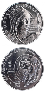 5 euro coin 60th Anniversary of the Constitution of the Italian Republic  | Italy 2008