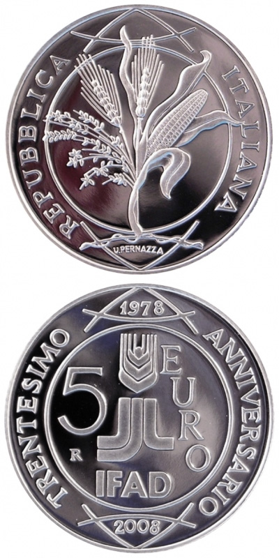 Image of 5 euro coin – 30th Anniversary of the foundation IFAD  | Italy 2008.  The Silver coin is of Proof, BU quality.