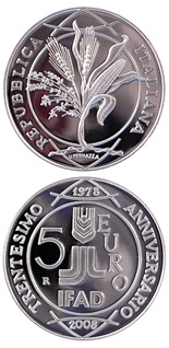 5 euro coin 30th Anniversary of the foundation IFAD  | Italy 2008