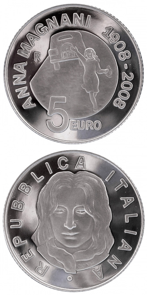 Image of 5 euro coin – 100th anniversary of the birth Anna Magnani  | Italy 2008.  The Silver coin is of Proof quality.