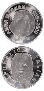 5 euro 100th anniversary of the birth Anna Magnani  - 2008 - Series: Silver 5 euro coins - Italy