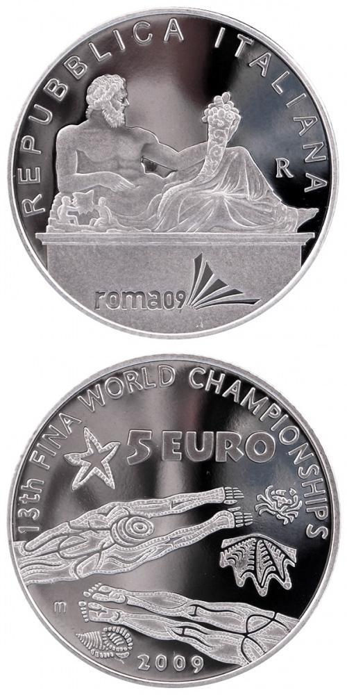 Image of XIII FINA World Championship  – 5 euro coin Italy 2009.  The Silver coin is of Proof, BU quality.