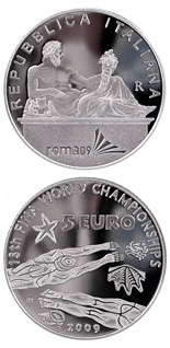 5 euro XIII FINA World Championship  - 2009 - Series: Silver 5 euro coins - Italy