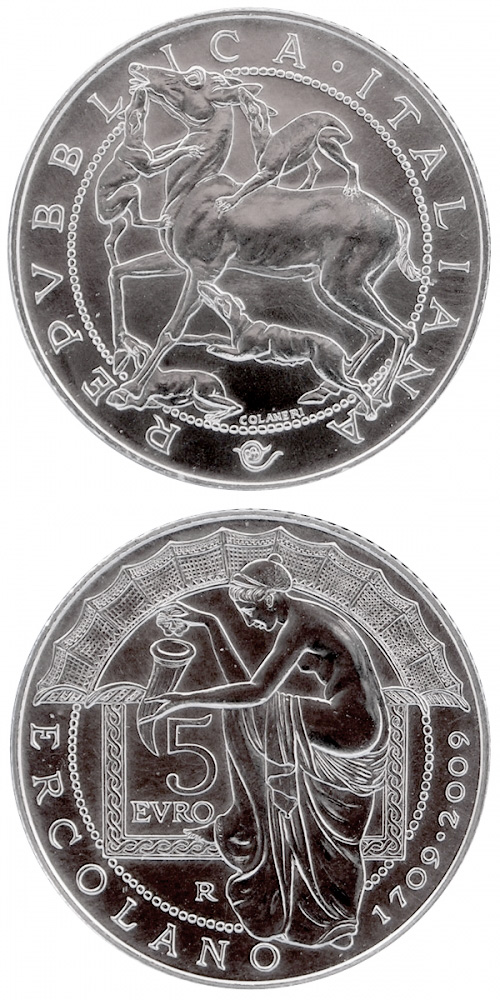5 euro 300th Anniversary of the Discovery of Herculaneum - 2009 - Series: Silver 5 euro coins - Italy